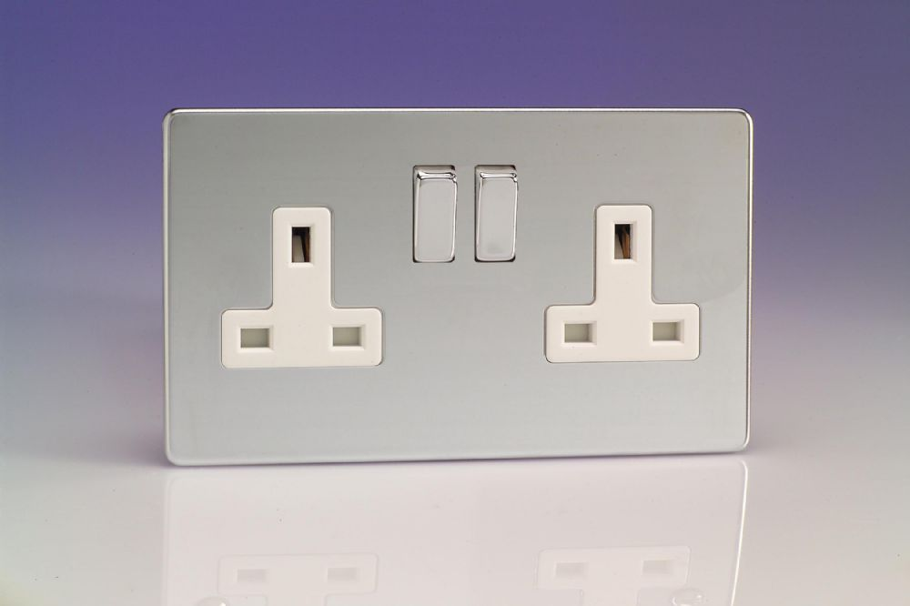 Varilight 2 Gang 13 Amp Switched Plug Socket Screwless